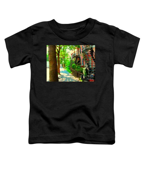 Montreal Art Colorful Winding Staircase Scenes Tree Lined Streets Of Verdun Art By Carole Spandau Toddler T-Shirt