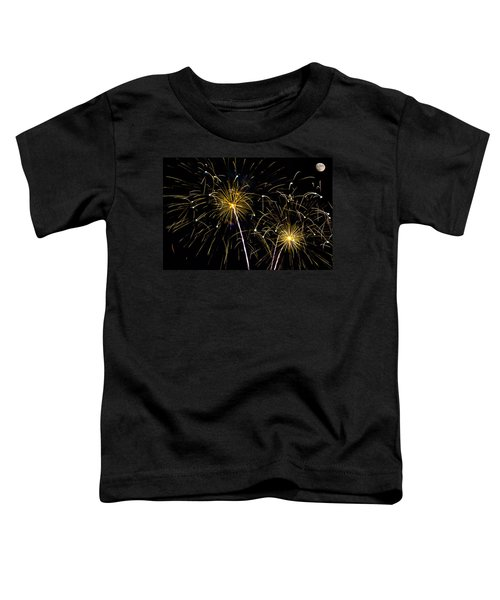 Moon Over Golden Starburst- July Fourth - Fireworks Toddler T-Shirt