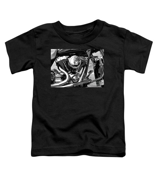 Motorcycle Engine Black And White Toddler T-Shirt