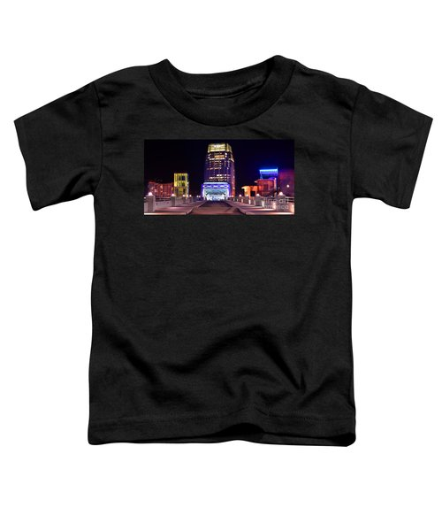 Nashville Sight Night Skyline Pinnacle Panorama Color Toddler T-Shirt by Jon Holiday