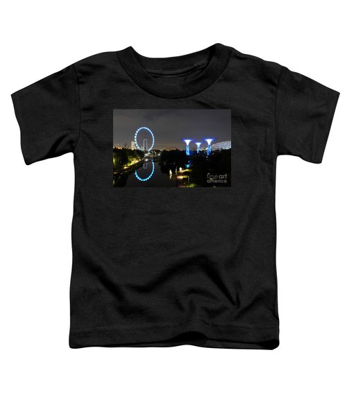 Night Shot Of Singapore Flyer Gardens By The Bay And Water Reflections Toddler T-Shirt