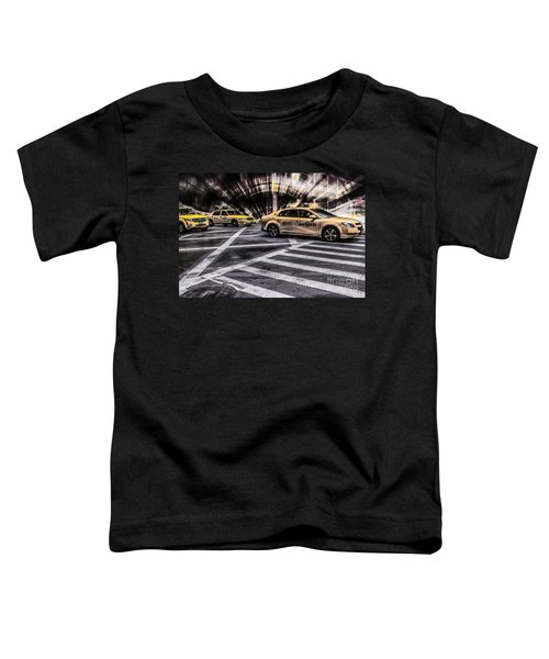 Nyc Yellow Cab On 5th Street - White Toddler T-Shirt
