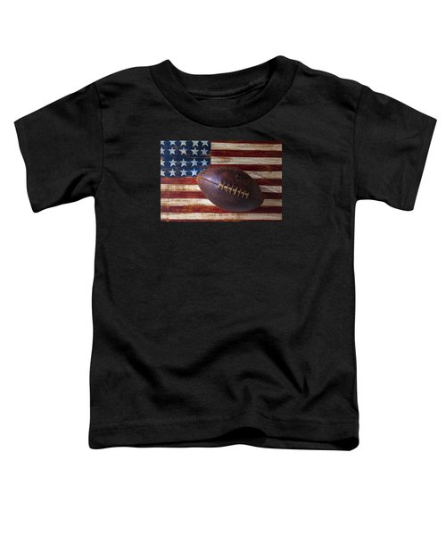 Old Football On American Flag Toddler T-Shirt