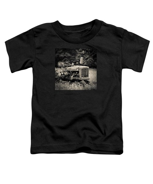 Old Tractor Black And White Square Toddler T-Shirt