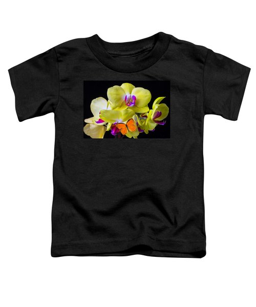 Orange Butterfly And Yellow Orchids Toddler T-Shirt