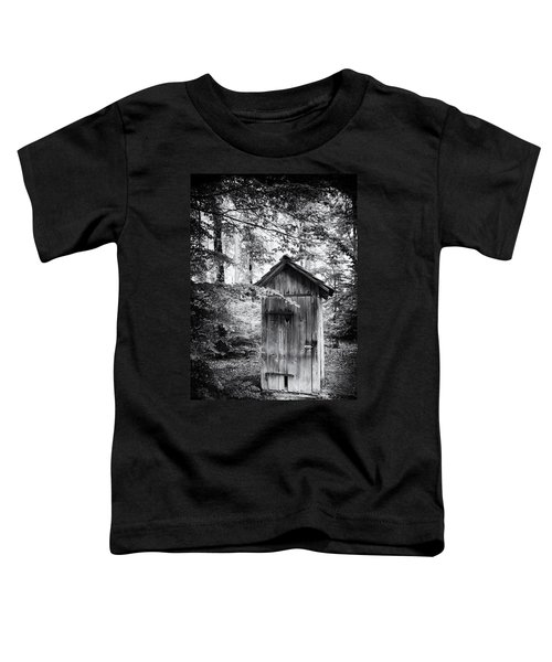 Outhouse In The Forest Black And White Toddler T-Shirt