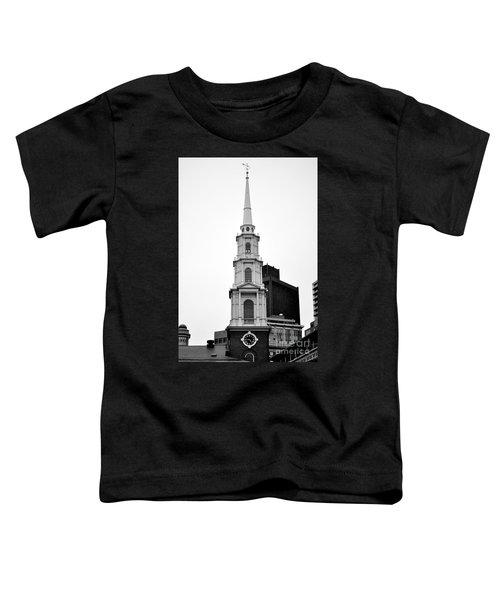 Park Street Church Boston Black And White Toddler T-Shirt