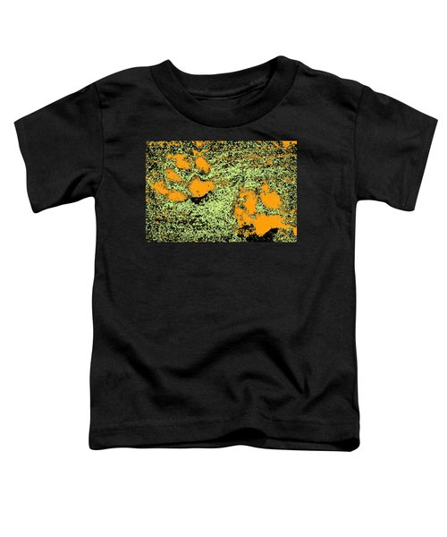 Paw Prints In Orange Lime And Black Toddler T-Shirt