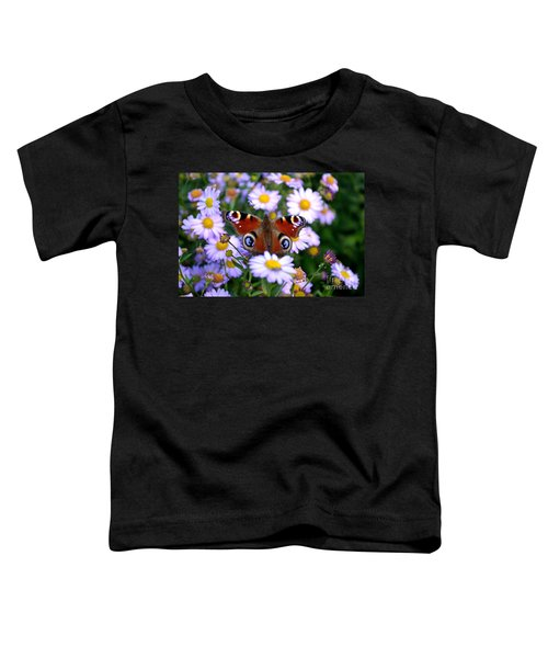 Peacock Butterfly Perched On The Daisies Toddler T-Shirt