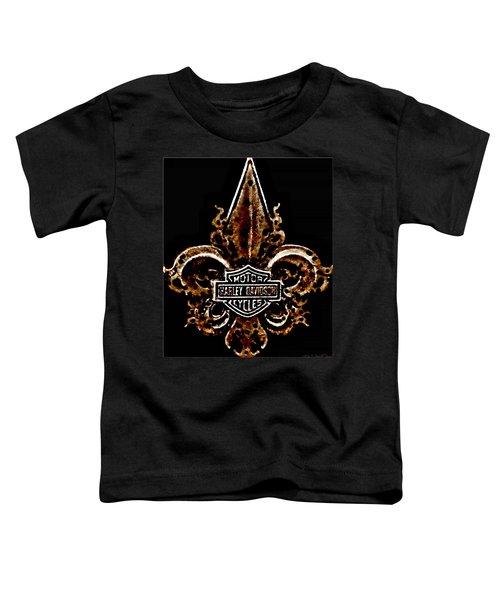 Perforated Brown Fleurs De Lys With Harley Davidson Logo  Toddler T-Shirt