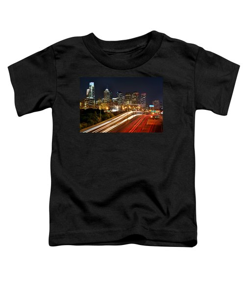 Philadelphia Skyline At Night In Color Car Light Trails Toddler T-Shirt by Jon Holiday