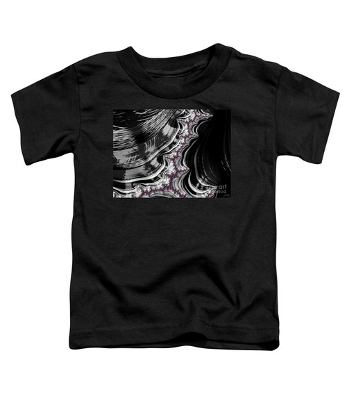 Pink On Black And White Fractal Abstract Toddler T-Shirt