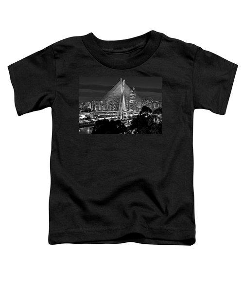 Sao Paulo - Ponte Octavio Frias De Oliveira By Night In Black And White Toddler T-Shirt