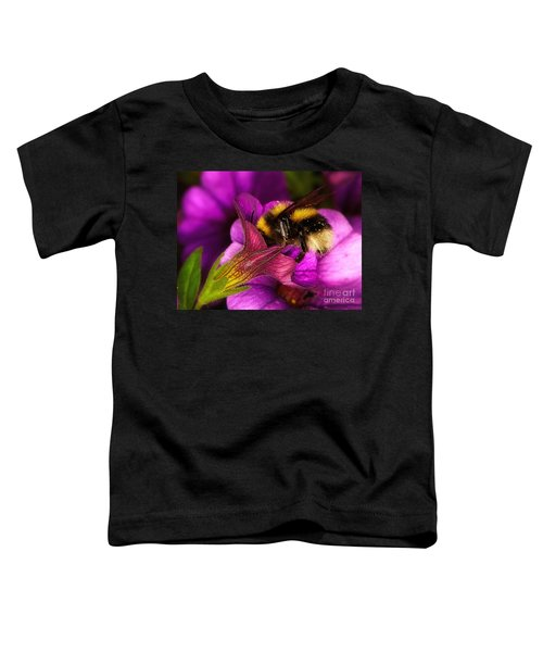 Purple Petunias With A Bumblebee Toddler T-Shirt