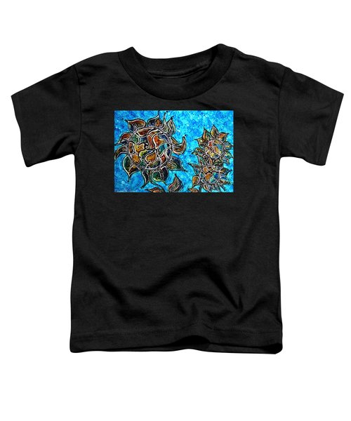 Rainbow Color Sunflowers Alcohol Inks Toddler T-Shirt