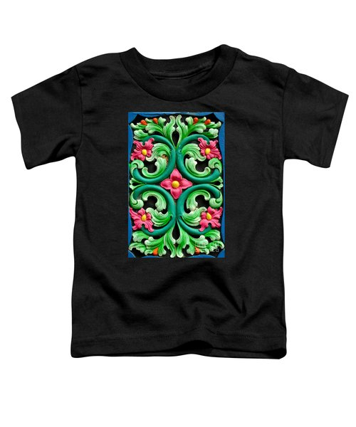 Red Green And Blue Floral Design Singapore Toddler T-Shirt
