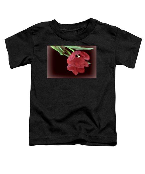 Red Tulip On Burgundy Toddler T-Shirt