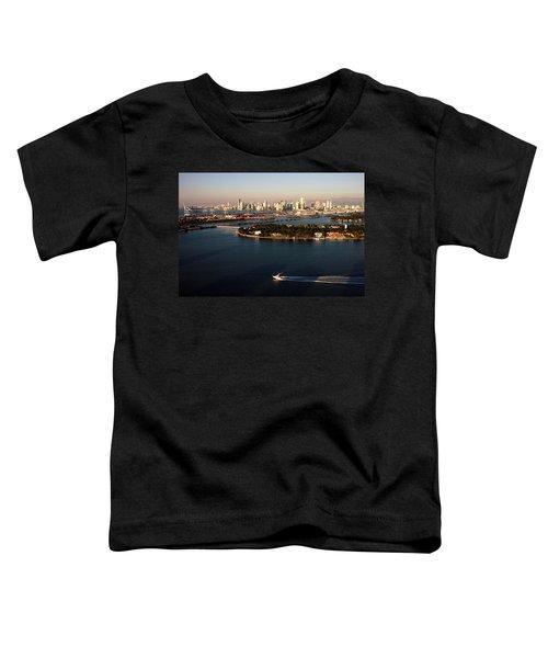 Retro Style Miami Skyline Sunrise And Biscayne Bay Toddler T-Shirt