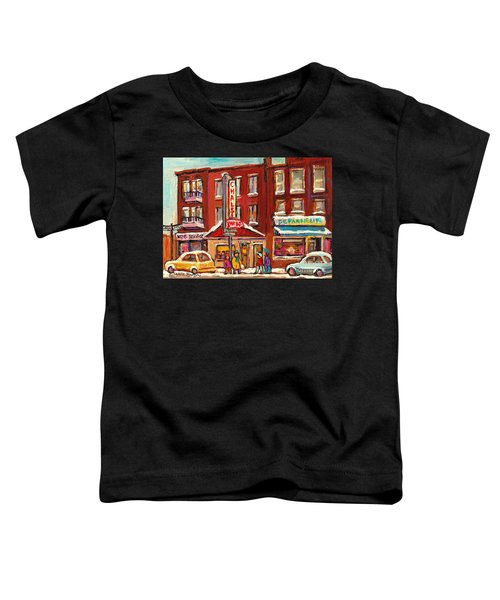 Rotisserie Le Chalet Bar B Q Sherbrooke West Montreal Winter City Scene Toddler T-Shirt