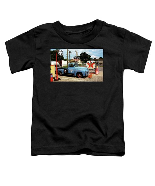 Route 66 - Gas Station With Watercolor Effect Toddler T-Shirt