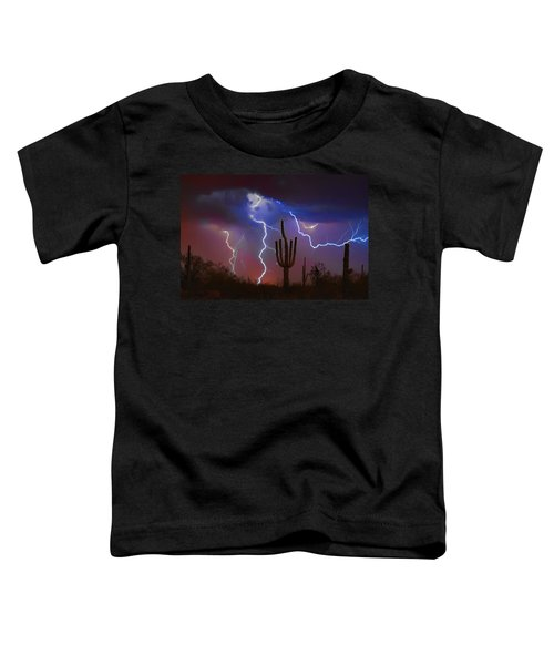 Saguaro Lightning Nature Fine Art Photograph Toddler T-Shirt by James BO  Insogna