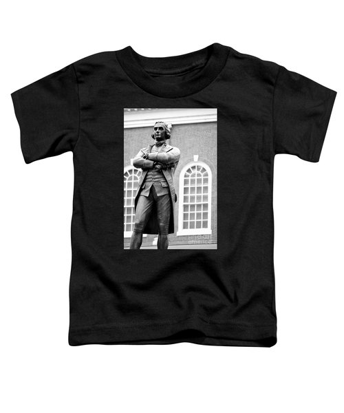 Samuel Adams Statue State House Boston Ma Black And White Toddler T-Shirt