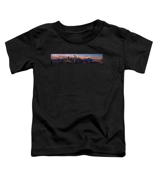 Seattle Cityscape Morning Light Toddler T-Shirt by Mike Reid