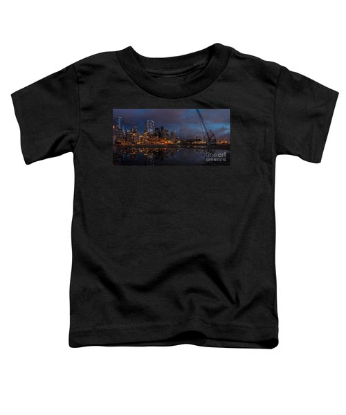 Seattle Night Skyline Toddler T-Shirt by Mike Reid
