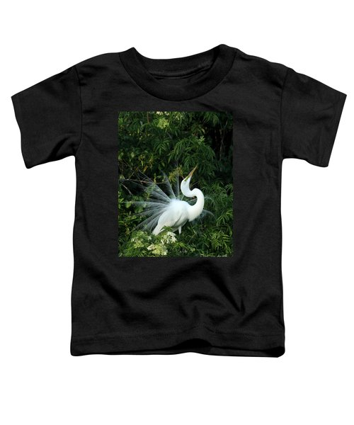 Showy Great White Egret Toddler T-Shirt
