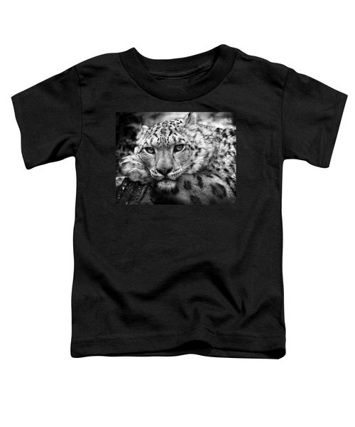 Snow Leopard In Black And White Toddler T-Shirt