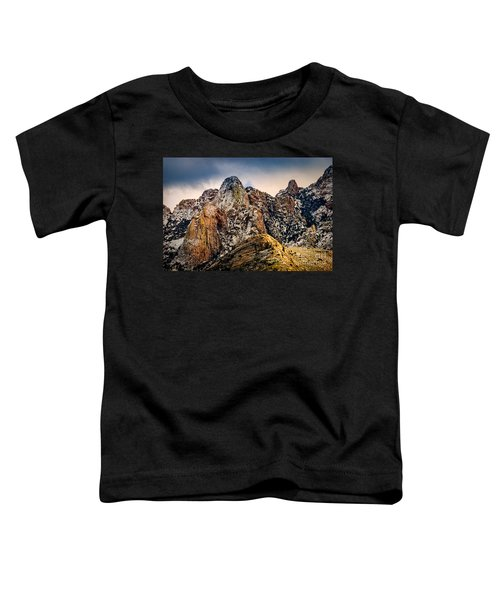 Toddler T-Shirt featuring the photograph Snow On Peaks 45 by Mark Myhaver