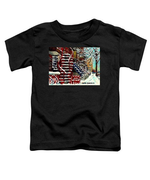 Snowy Steps The Red Staircase In Winter In Verdun Montreal Paintings City Scene Art Carole Spandau Toddler T-Shirt