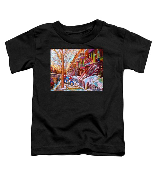 Street Hockey Game In Montreal Winter Scene With Winding Staircases Painting By Carole Spandau Toddler T-Shirt
