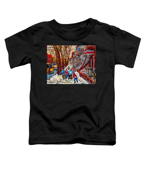 Streets Of Verdun Hockey Art Montreal Street Scene With Outdoor Winding Staircases Toddler T-Shirt