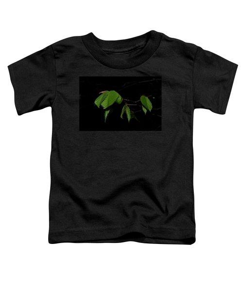 Summer Leaves On Black Toddler T-Shirt