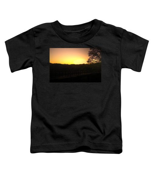 Toddler T-Shirt featuring the photograph Sunset Behind Hills by Jonny D