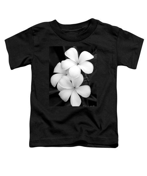 Three Plumeria Flowers In Black And White Toddler T-Shirt