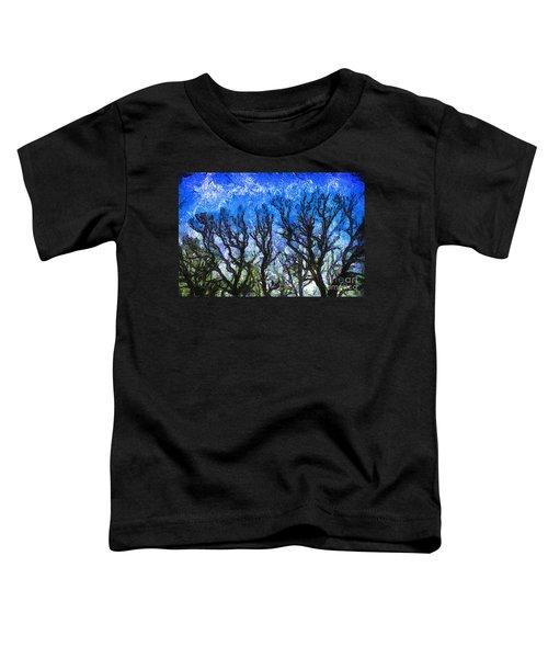 Trees On Blue Night Sky Digital Painting Artwork Toddler T-Shirt