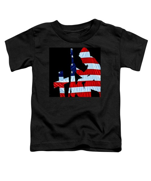 A Time To Remember United States Flag With Kneeling Soldier Silhouette Toddler T-Shirt by Bob Orsillo