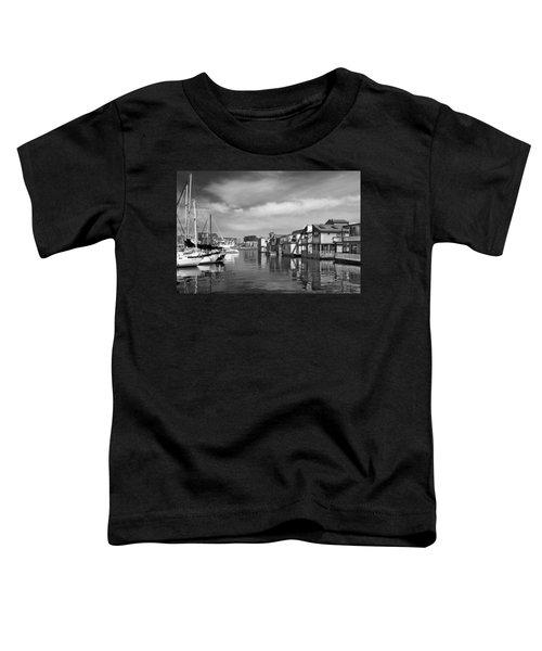 Veiw Of Marina In Victoria British Columbia Black And White Toddler T-Shirt
