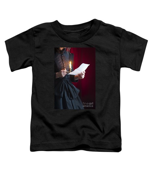 Victorian Woman Reading A Letter By Candle Light Toddler T-Shirt