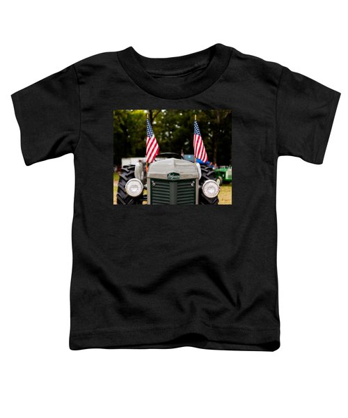 Vintage Ferguson Tractor With American Flags Toddler T-Shirt