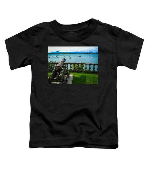 Toddler T-Shirt featuring the photograph Weathered Cannon Guards Ireland's Historic Bantry Bay by James Truett