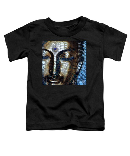 Web Of Dharma - Modern Blue Buddha Art Toddler T-Shirt