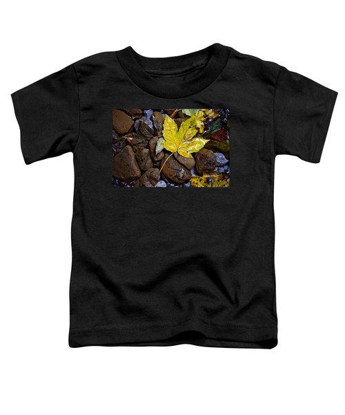 Wet Autumn Leaf On Stones Toddler T-Shirt