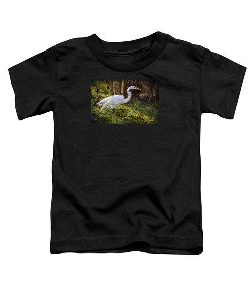 White Egret On The Hunt Toddler T-Shirt