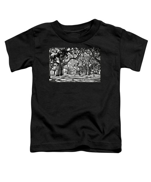 White Point Gardens At Battery Park Charleston Sc Black And White Toddler T-Shirt