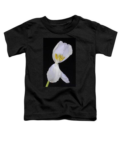 White Tulip On Black Toddler T-Shirt