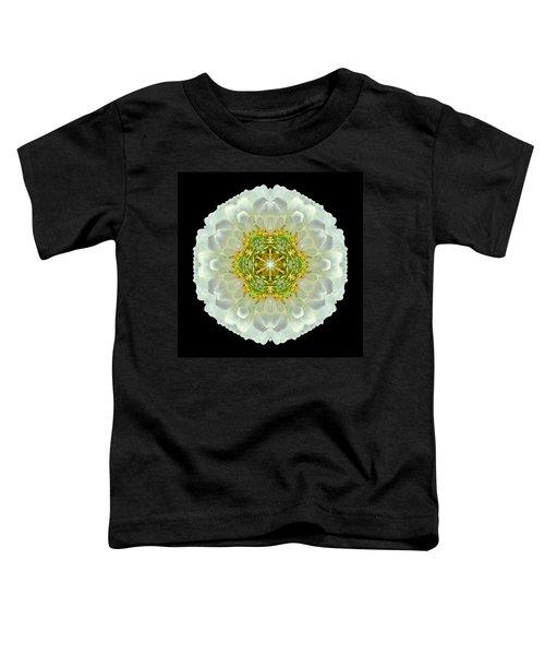 White Zinnia Elegans V Flower Mandala Toddler T-Shirt