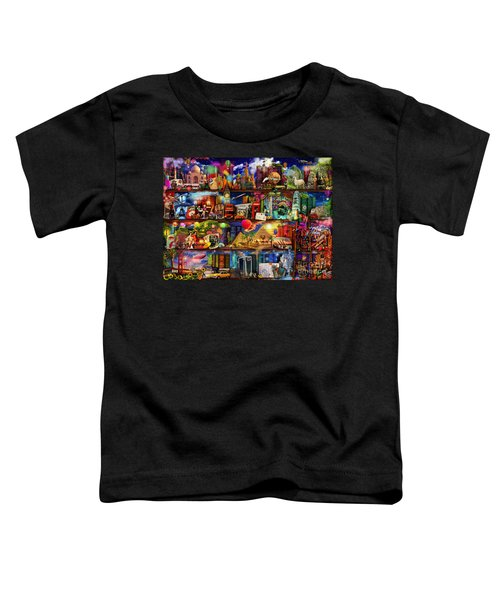 World Travel Book Shelf Toddler T-Shirt